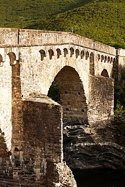 France, Corsica, Haute-Corse Department, Central Mountains Region, Le Bozio Area, old Genoese Bridge
