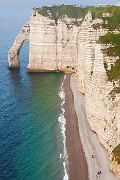 France, Normandy Region, Seine-Maritime Department, Etretat, Falaise De Aval cliffs, elevated view
