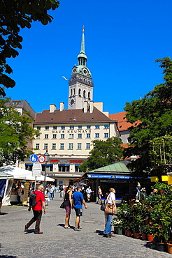 Munich, Viktualienmarkt, Market square, Bavaria, Germany, Europe.