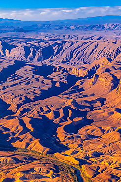 Aerial view taken over Big Bend National Park, Texas USA looking to the Rio Grande River, which is the border between the U S and Mexico Mexico is on the far side of the river