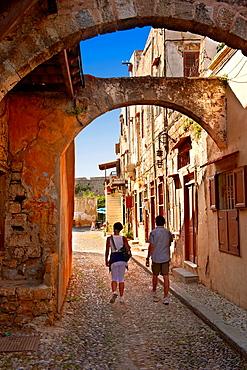 Narrow medieval lanes of Rhodes, Greece UNESCO World Heritage Site