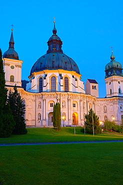Ettal, Ettal Abbey, Near Oberammergau, Monastery church and courtyard, Upper Bavaria, Bavaria, Germany, Europe