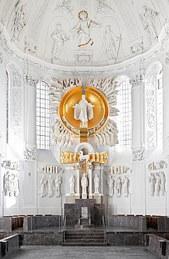 Choir with stele of Hubert Elsasser, Kilian Cathedral, Wurzburg, Bavaria, Germany