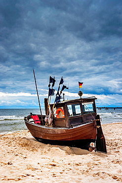 Fishing boat at the Baltic Sea near the pier of the Baltic Sea resort of Ahlbeck, Municipality of Heringsdorf, Usedom Island, County Vorpommern-Greifswald, Mecklenburg-Western Pomerania, Germany, Europe