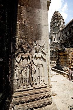 detail of decoration at wall in Angkor Wat, Cambodia
