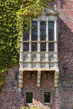 Detail of a window of the moated castle of Raesfeld, North Rhine-Westphalia, Germany, Europe