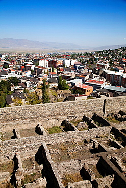 panoramic view from the fortress, town of erzurum, eastern anatolia, turkey, asia