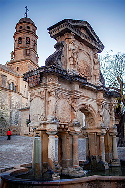 Santa Maria fountain, in Santa Maria's square In background bell tower of the cathedral  Baeza  Jaen province  Spain