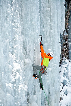 Elijah Weber ice climbing Genesis which is rated WI-4 and located in Hyalite Canyon in the Gallatin Mountains near the city of Bozeman in southern Montana