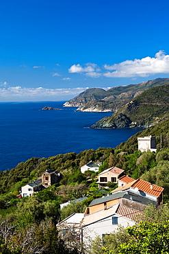 France, Corsica, Haute-Corse Department, Le Cap Corse, Pino, elevated town view