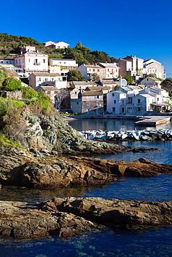 France, Corsica, Haute-Corse Department, Le Cap Corse, Lavasina, town view, dawn