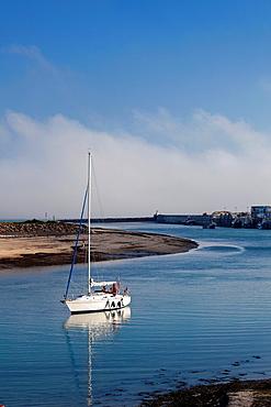 France, Normandy Region, Manche Department, Barneville-Carteret, Carteret harbor with fog and boats