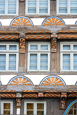 Detail of the Stiftsherrenhaus in Hamelin on the German Fairy Tale Route, Lower Saxony, Germany, Europe