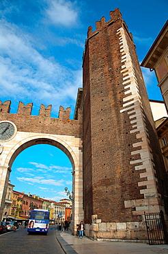 Portoni della Bra gates and Torre Pentagona tower Piazza Bra square in the historical centre of Verona city the Veneto region northern Italy Europe