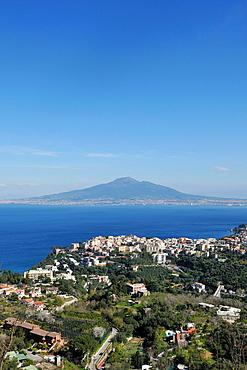 Vico Equense Italy The small coastal town of Vico Equense overlooking the Bay of Naples & Mount Vesuvius Volcano
