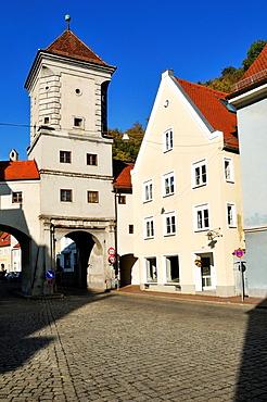 historic city gate, Sandauer Tor, Landsberg am Lech, Upper Bavaria, Germany, Europe