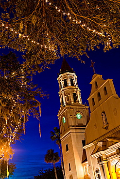 Christmas lights decorate the Cathedral Basilica of St Augustine in St Augustine, Florida The lights are part of the Night of Lights festival