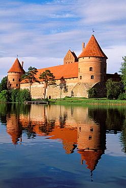 Gothic castle (XIV-XVth century), Lake Galve, Trakai, Lithuania.