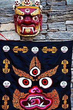 Bhutanese Ceremonial Mask, Thimphu, Bhutan, Asia.