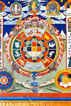 Religious painting on a wall of Punakha Dzong, Punakha, Bhutan, Asia.