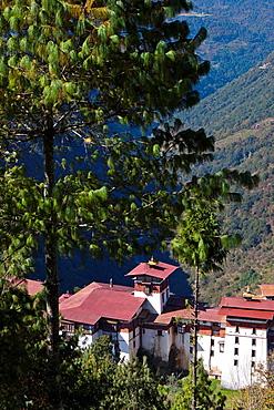 View from above of Trongsa Dzong, Trongsa, Bhutan, Asia.