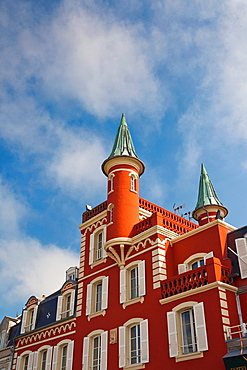 France, Picardy Region, Somme Department, Le Crotoy, Somme Bay resort town, building detail