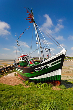 France, Picardy Region, Somme Department, Le Crotoy, Somme Bay resort town, fishing boats
