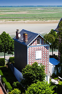 France, Picardy Region, Somme Department, St-Valery sur Somme, Somme Bay Resort town, elevated view of house by la Baie de Somme