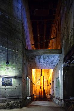 France, Nord-Pas de Calais Region, Pas de Calais Department, Eperlecques, Le Blockhaus de Eperlecques, World War Two German V2 rocket bunker, interior with replica of V2 rocket