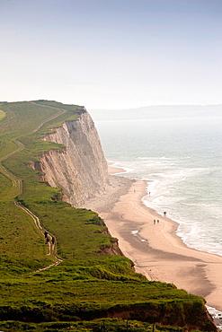 France, Nord-Pas de Calais Region, Pas de Calais Department, Cote d-Opale Area, Escalles, Cap Blanc Nez cape, elevated coastal view