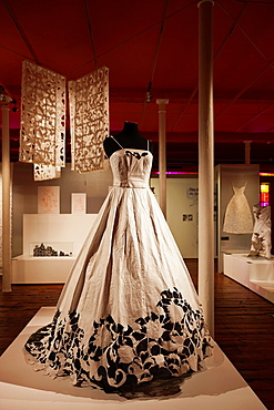 France, Nord-Pas de Calais Region, Pas de Calais Department, Calais, Musee de la Dentelle et de la Mode, museum of lace and fashion, lace womens gown made of Tyvek material