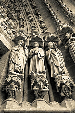 France, Picardy Region, Somme Department, Amiens, Cathedrale Notre Dame cathedral, front entrance detail