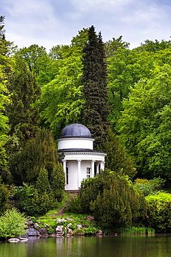 Pavilion and lake in the Bergpark Wilhelmshoehe, Kassel, Hesse, Germany, Europe