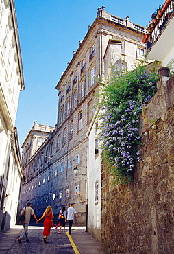 Street behind Raxoi Palace. Santiago de Compostela, La Coruna province, Galicia, Spain.