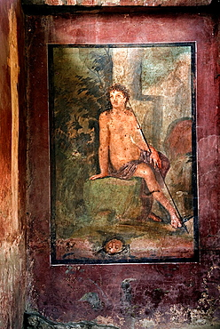 fresco depicting Narcissus in the House of Loreius Tiburtinus also called the House of Octavius Quartio, archeological site of Pompeii, province of Naples, Campania region, southern Italy, Europe