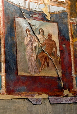 painting depicting Hercule, Minerva and Juno inside the Aedes Augustalium, archeological site of Herculaneum, Pompeii, province of Naples, Campania region, southern Italy, Europe