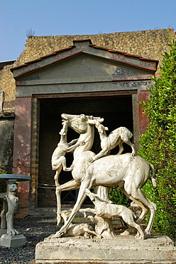 statue of deer being attacked by dogs, House of the Deer, archeological site of Herculaneum, Pompeii, province of Naples, Campania region, southern Italy, Europe
