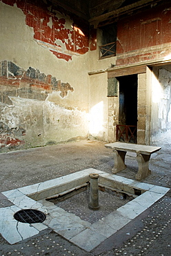 impluvium in the House of the Wooden Partition, archeological site of Herculaneum, Pompeii, province of Naples, Campania region, southern Italy, Europe