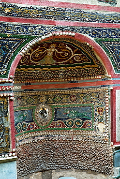 fountain completely faced with mosaic in polychrome glass tesserae, archeological site of Pompeii, province of Naples, Campania region, southern Italy, Europe
