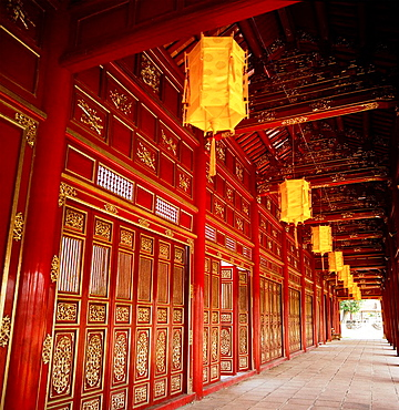 Inside the Purple Forbidden City of the Imperial enclosure of the Hue Citadel Kinh Thanh in Hue in Vietnam