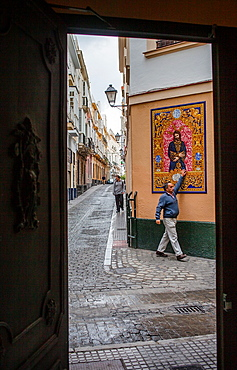 Zaragoza street at Benjumeda street Picture of Jesus Christ on elaborate ceramics Cadiz, Andalusia, Spain
