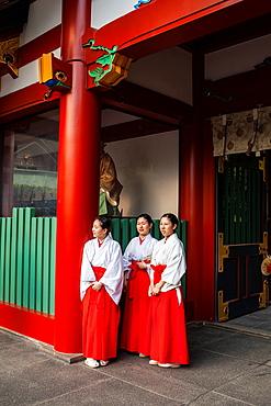 Shrine Maidens, HieJinja shrine, Nagata-cho Tokyo city, Japan, Asia