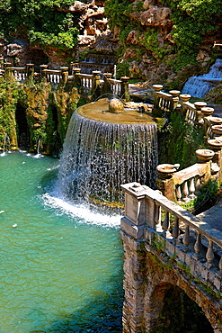 waterfall of The oval fountain, 1567, Villa d'Este, Tivoli, Italy, Unesco World Heritage Site