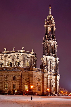 Catholic Court Church was built by architect Gaetano Chiaveri from 1738 to 1751, Dresden, Saxony, Germany, Europe