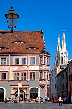 Old pharmacy at Lower Market and St Peter's Church, Gorlitz, Saxony, Germany, Europe