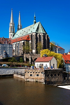 View fom the old city bridge over the Neisse river to Vierraden mill and St. Peter's Church, Gorlitz, Saxony, Germany, Europe