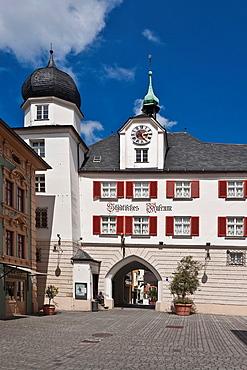 View from Max-Josefs-Platz to Mittertor with town museum, Rosenheim, Upper Bavaria, Bavaria, Germany, Europe