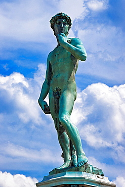 Bronze statue of David from Michelangelo at square Piazzale Michelangelo, establish 1875, projected by Giuseppe Poggi, Florence, Tuscany, Central Italy, Italy, Europe