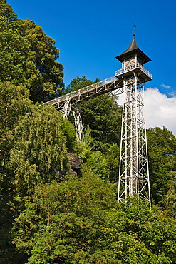Bad Schandau elevator is a passenger truss-tower elevator built 1904 at Bad Schandau. The elevator overcomes a height difference of 47, 76 metres between Bad Schandau an Ostrau, Bad Schandau, Saxony, Germany, Europe