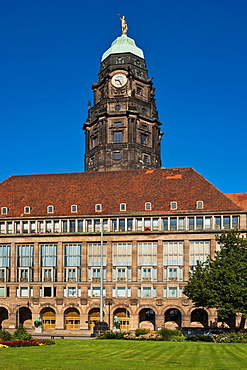 New guildhall from the city of Dresden with a 100, 20 metres high tower, opened 1910, Dresden, Saxony, Germany, Europe